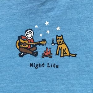 Life is Good Night Life Campfire Blue Top